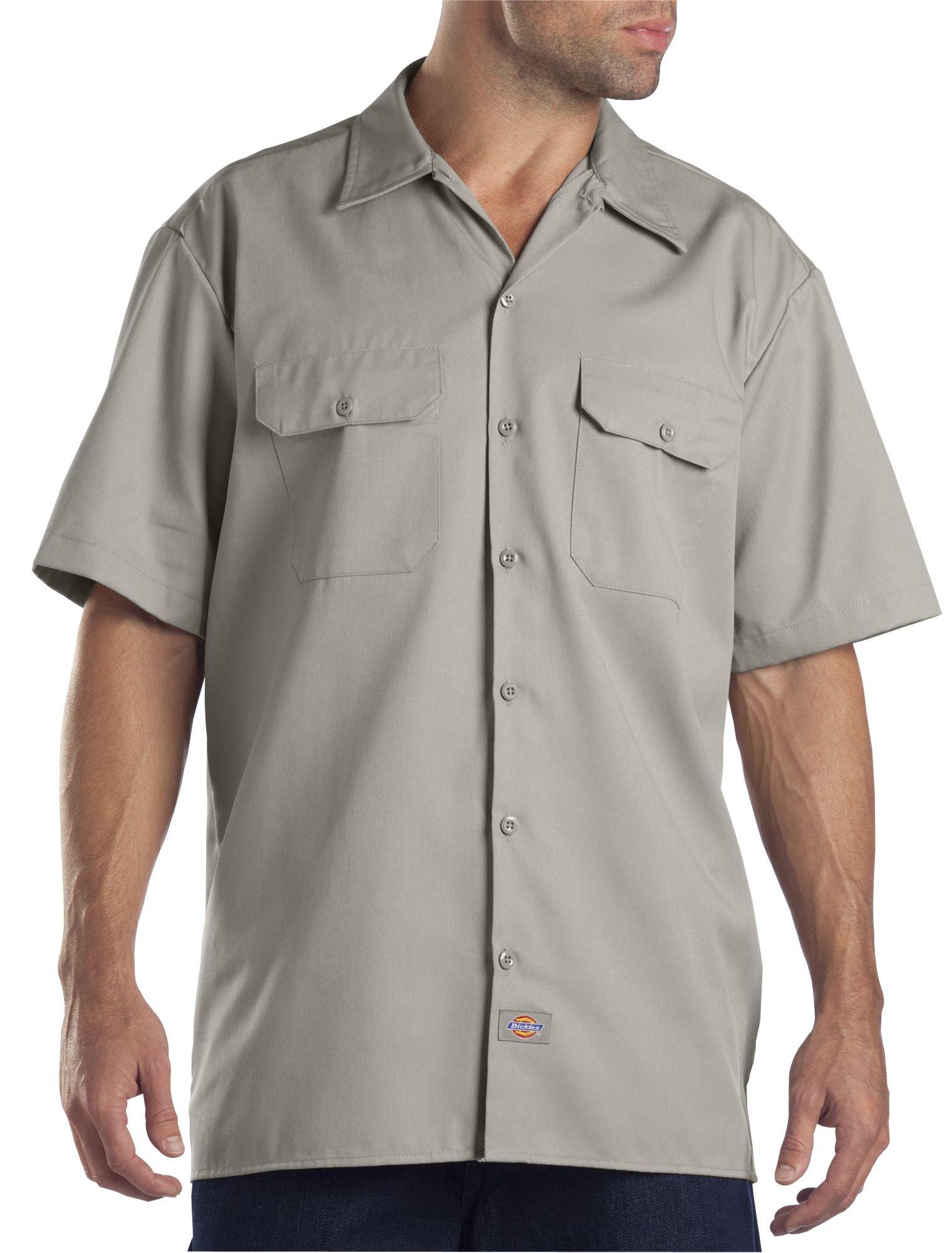 Dickies Men's Short-Sleeve Work Shirt, Silver Gray, 2X-Large