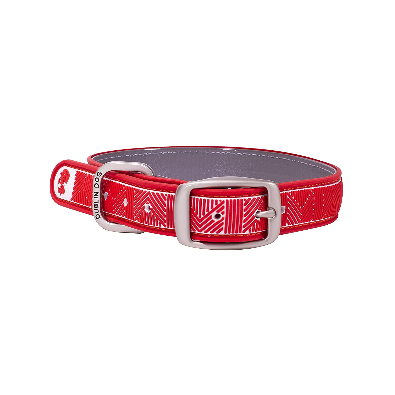 Dublin Dog Co. 12.5  x 17  Chevron Collar, Medium, Nautical Red