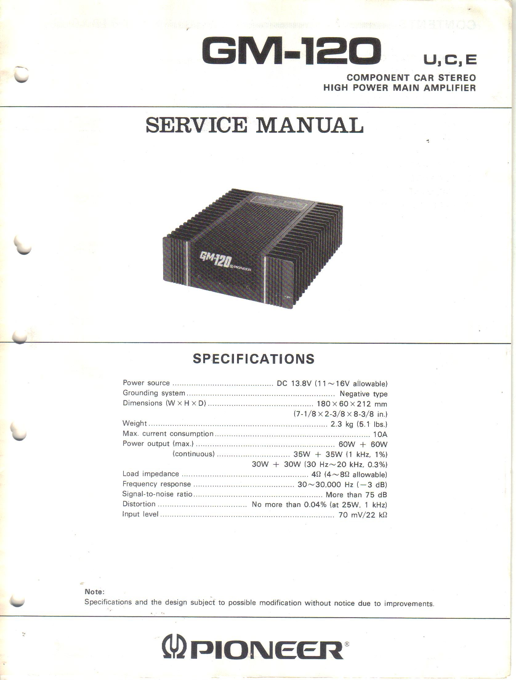 Service Manual Parts List Schematic Wiring Diagram For Pioneer Gm 120 High Power Main Amplifier Component Car Stereo Pioneer Electronic Corp Not Stated Amazon Com Books