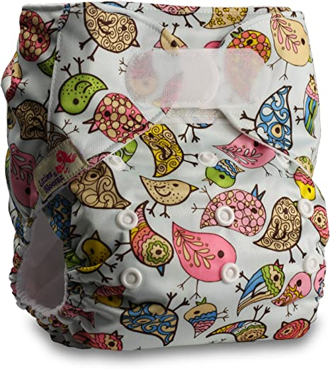 Reusable Pocket Cloth Nappy with 2 Bamboo Inserts Pattern 10 Littles /& Bloomz Fastener: Hook-Loop Set of 1