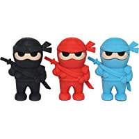 Lucore 2 Inch Ninja Puzzle Erasers - 3 pcs Kids Red, Blue and Black Karate Figurine Toy Figures