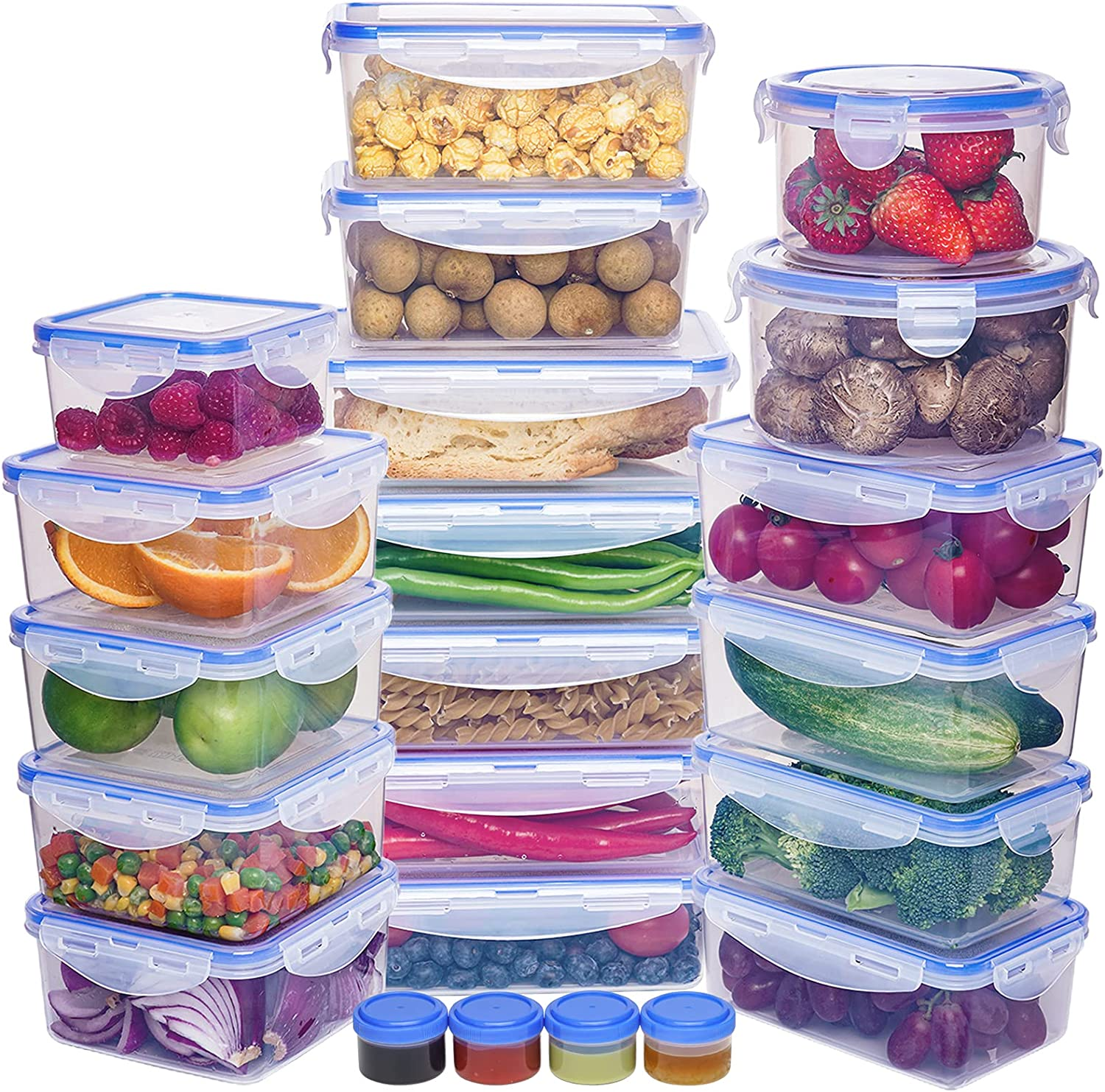 22 Pack Large Capacity Food Storage Containers Set - Airtight Plastic Food Containers with Easy Snap Lids - 100% Leak Proof Food Containers with Lids - Plastic Storage Containers with Lids - BPA-Free