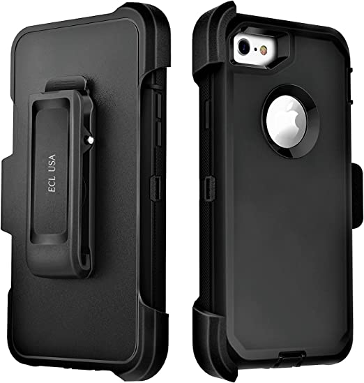 Amazon Com Ecl The Eagle Cover Case For Iphone Se 2020 And Iphone 7 Iphone 8 Tough Cover With Belt Clip Kickstand Holster And Built In Screen Protector Not Plus Black Black