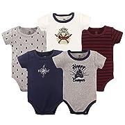 Yoga Sprout Unisex Baby Cotton Bodysuits, Happy Camper 5Pk Short Sleeve, 6-9 Months (9M)