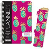 """HARDCOVER Academic Year Planner 2018-2019 - 5.5""""x8"""" Daily Planner / Weekly Planner / Monthly Planner / Yearly Agenda. Bonus CLIP-IN BOOKMARK (Pineapples)"""