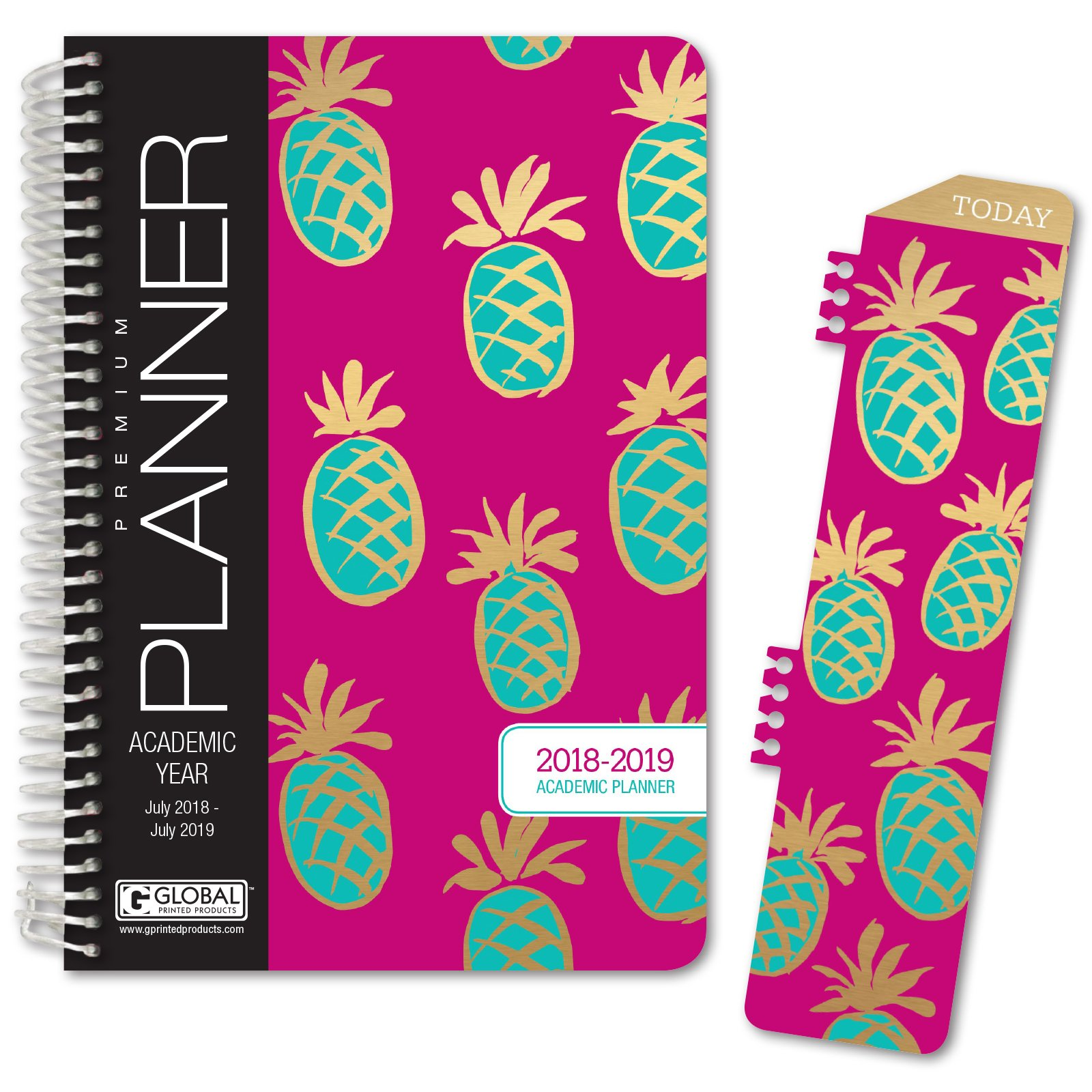 HARDCOVER Academic Year Planner 2018-2019 - 5.5''x8'' Daily Planner / Weekly Planner / Monthly Planner / Yearly Agenda. Bonus CLIP-IN BOOKMARK (Pineapples)