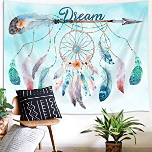 Dream Catcher Feather Small Tapestry, Native American Arrow Dreamcatcher Tapestry Wall Hanging for Teen Girl Bedroom, Blue Teal Bohemian Boho Tapestries Living Room College Dorm Home Decor (60W X 40H)