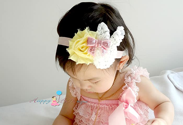 Amazon.com  Yellow and Pink Baby Girl Bunny Headband 58e571049cc