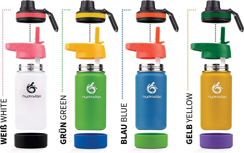 hydro2go® botella de agua para niños de acero inoxidable - 350 ml | Botella termo de acero inoxidable sin BPA para niños + 2 tapones para beber | Biberón 100% a prueba de fugas Paja y cierre deportivo