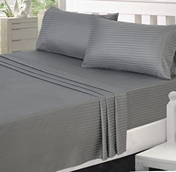 Reliable Trends 300TC Grey Plain Stripe King Size Elastic Fitted Bedsheets greyy