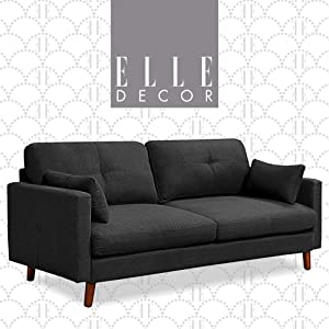 "Elle Decor Alix Upholstered Living Room Sofa, Tufted Fabric Couch, Mid-Century Walnut Tapered Footers, 78"" Sofa, Gray"
