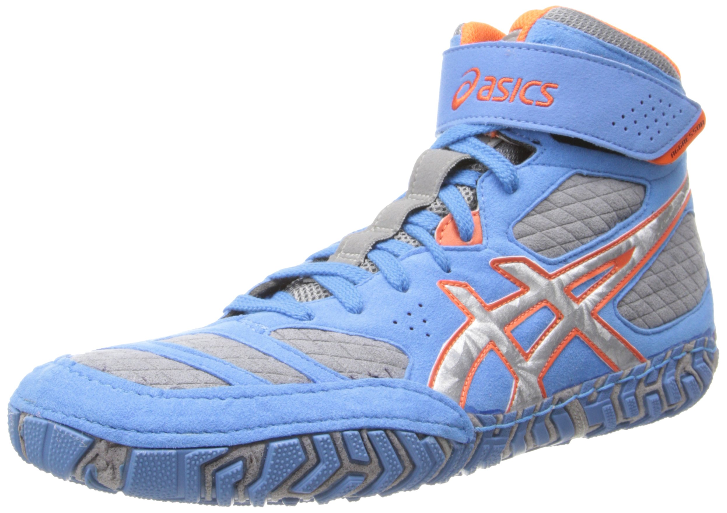ASICS Men's Aggressor 2 Wrestling Shoe,Dusty Blue/Silver/Red Orange,10 M US by ASICS