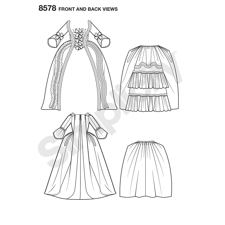 14//16//18//20//22 Simplicity Creative Patterns 18th Century Costumes