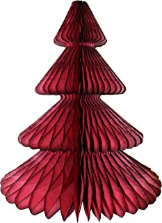 product image for 12 Inch Honeycomb Tissue Paper Tree Decoration, Maroon (1 Piece)