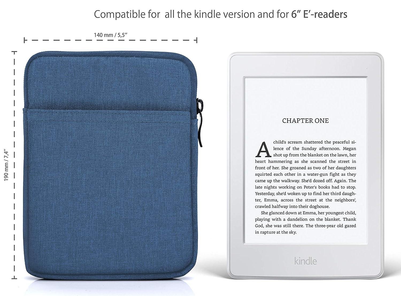 Blu Chiaro Case Imbottita per  Kindle Paperwhite//Voyage//Oasis//Kobo MyGadget Custodia Universale Sleeve Nylon 6 per E-Reader//Smartphone