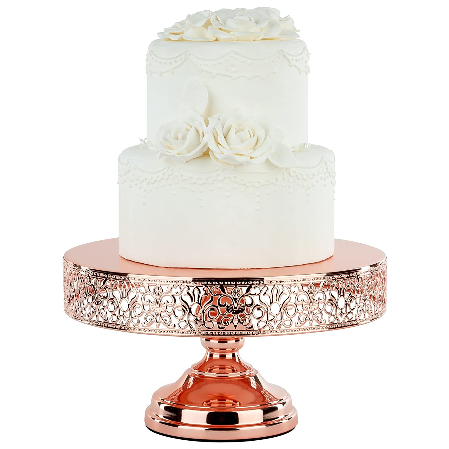 Amazon.com | Rose Gold Plated 12 Inch Metal Cake Stand, Shiny Gloss ...