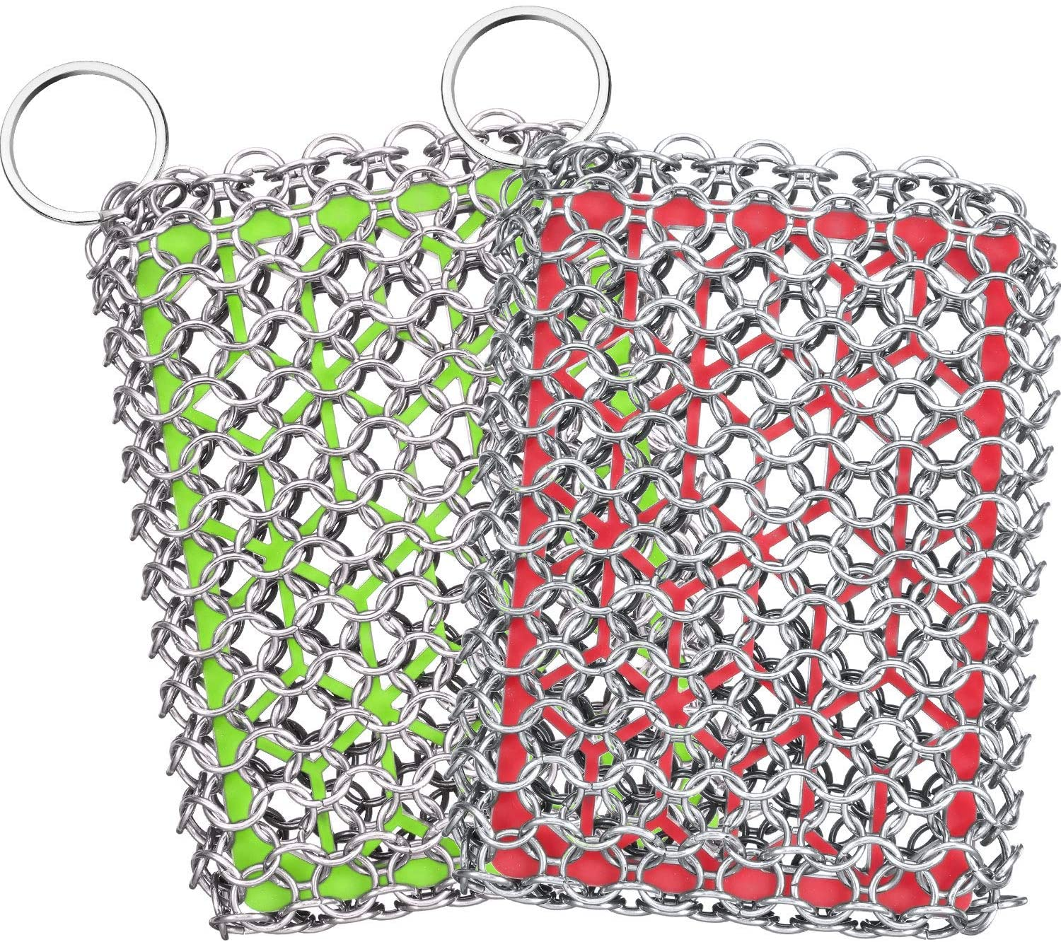 2 Pieces Chainmail Scrubbers Skillet Cast Iron Cleaner Stainless Steel Scrubbers with Silicone for Kitchen Cookware BBQ Tools Green and Red: Health & Personal Care