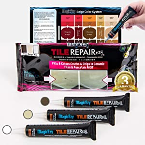 MagicEzy Tile Repairezy Fix Cracked and Chipped Ceramic Tiles, Bathtubs, Showers, Sinks Fast - Tile Repair Filler - Porcelain, Granite, Marble, Stone (Beige Repair Kit)