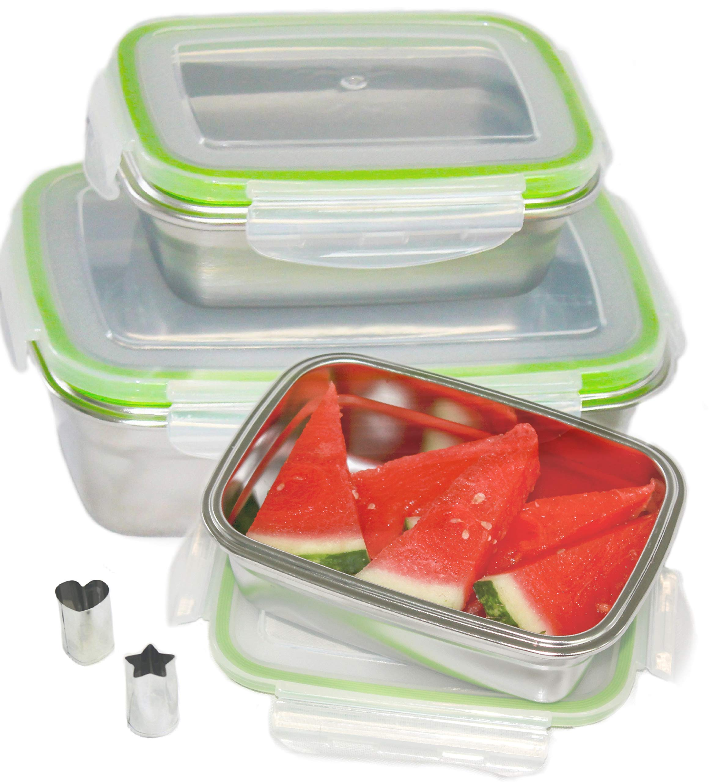 LILYS KITCHEN Leakproof Stainless Steel Food Containers with Airtight Lids, Set of 3, BPA FREE, Bonus Item - Mini Heart and Star Shaped - Fruit, Veggie, Cheese and Cookie Cutters by LILYS KITCHEN