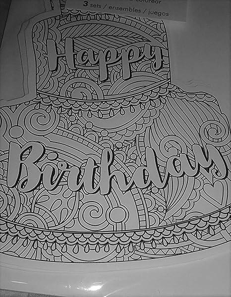 Amazon.com: Coloring Tarjetas Feliz cumpleaños pastel ...
