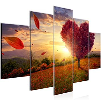 Bilder Herbst Baum Herz Wandbild 150 x 100 cm Vlies - Leinwand Bild ...