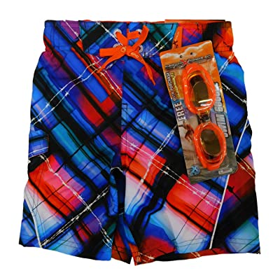 Boys Plaid Barbed Wire Swim Trunks Board Shorts Medium-5/6