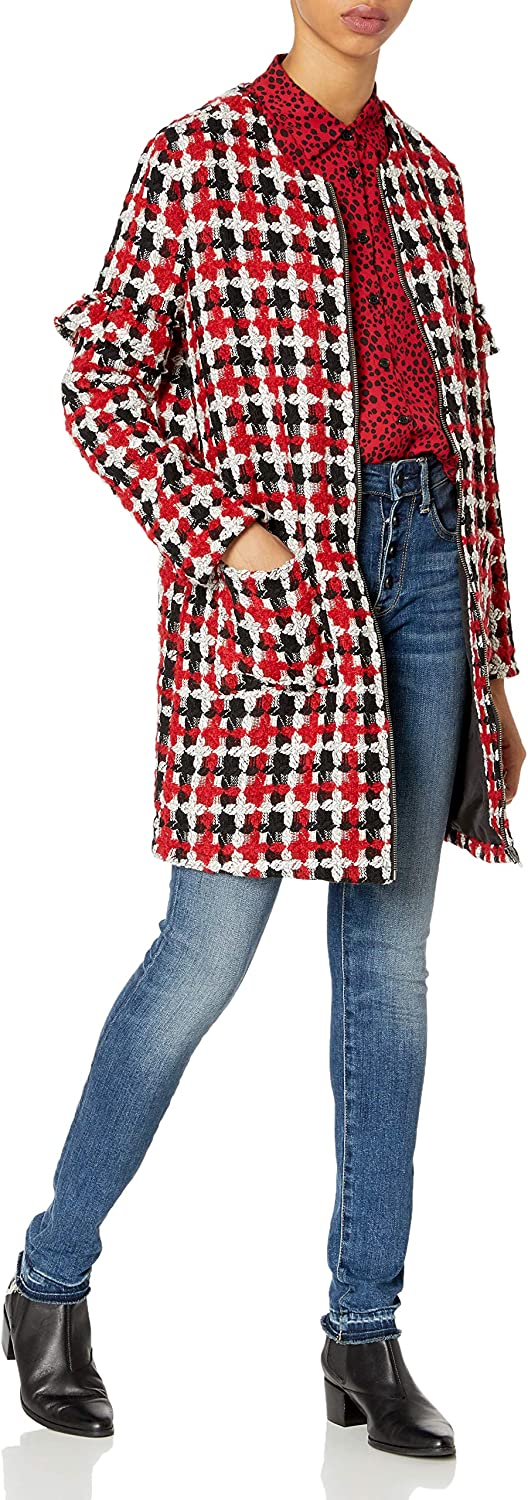 Jack Women's Check Your Facts Jacquard Plaid Coat with Ruffle Detail