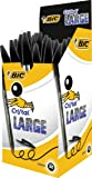 Bic Stylo à bille Pointe large Encre Noire Corps plastique transparent à capuchon Lot de 50
