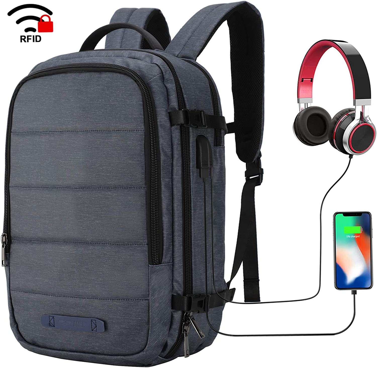 MIER Travel Laptop Backpack Anti-theft Backpack with USB Charging Port