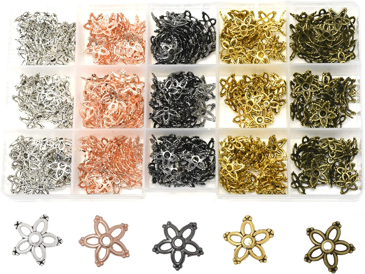 100 gold plated findings for jewellery making crafts 6mm diameter bead caps