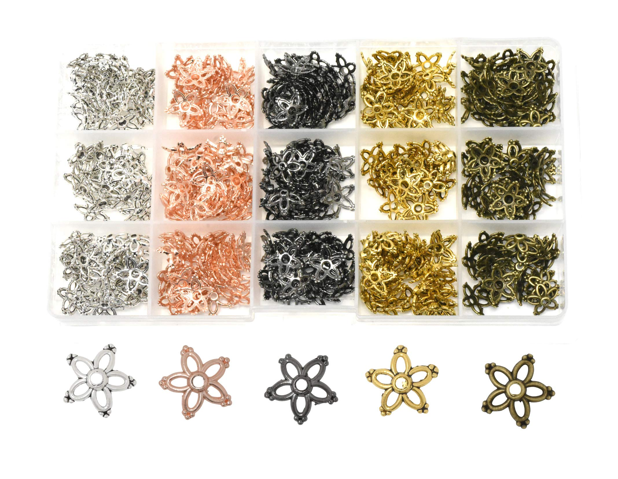 Mandala Crafts End Bead Cap, End Cap Bead Cover Assorted Set from Metal for Jewelry Making; Rose Gold, Gunmetal, Silver, Gold Color (Floral Petal, 13mm) by Mandala Crafts