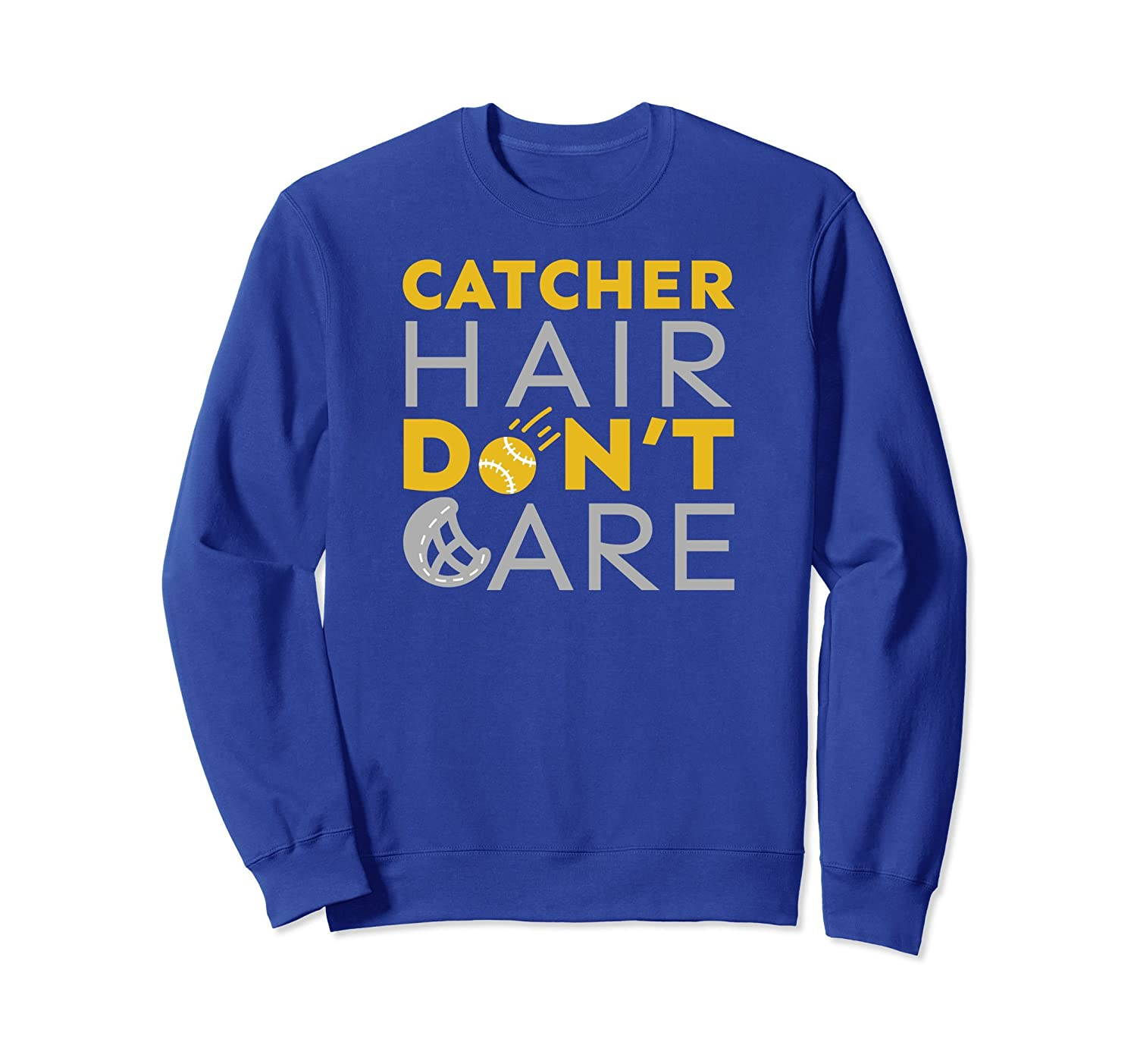 Catcher Hair Don't Care Girls Softball Fastpitch Sweatshirt-mt