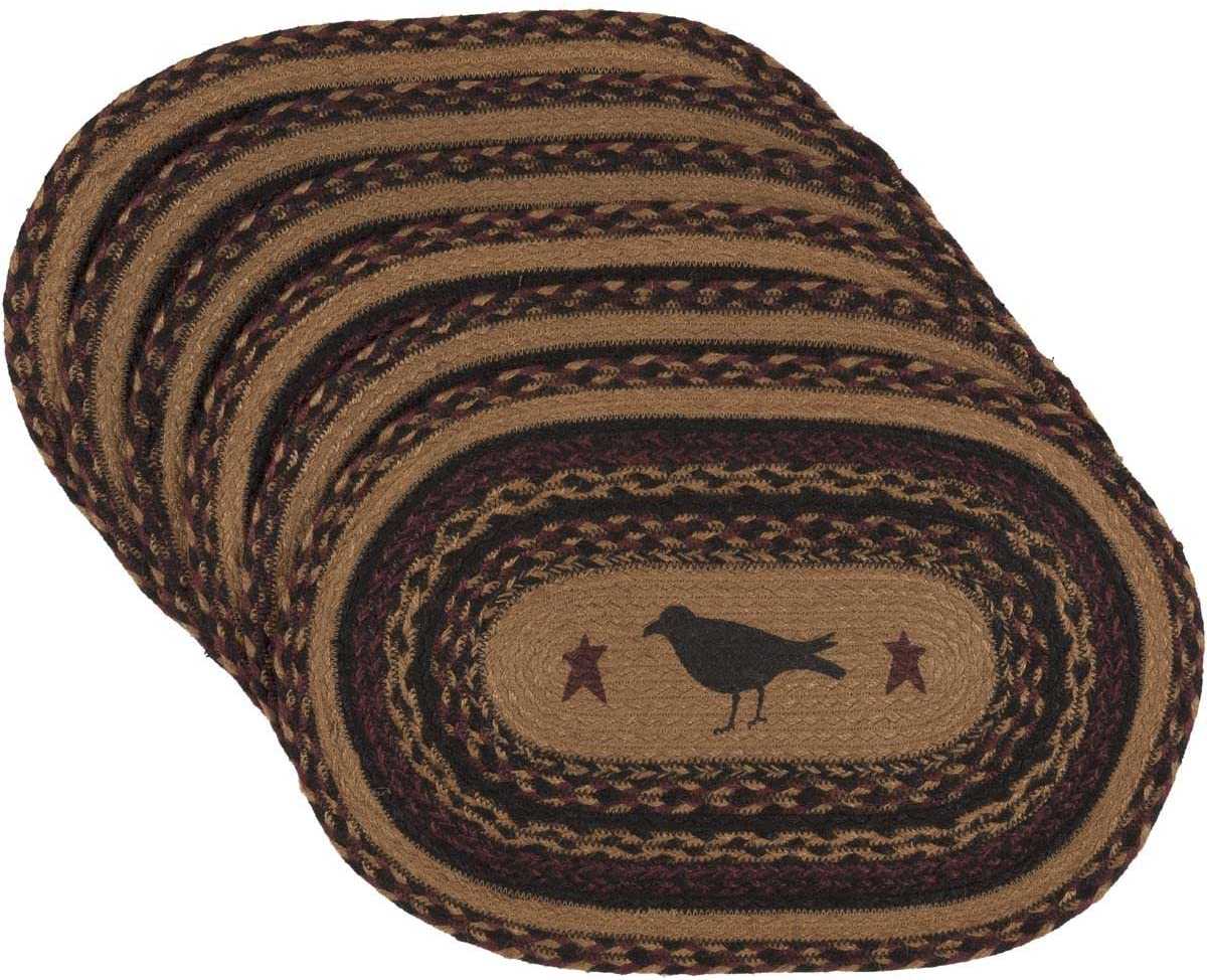 VHC Brands Primitive Tabletop & Kitchen - Heritage Farms Tan Crow Oval Jute Placemat Set of 6, Mustard Yellow