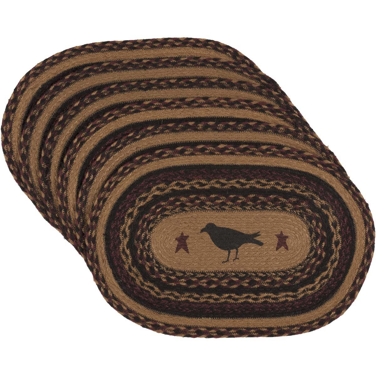 VHC Brands Heritage Farms Crow Oval Jute Placemat Set of 6   B073RWMNCL