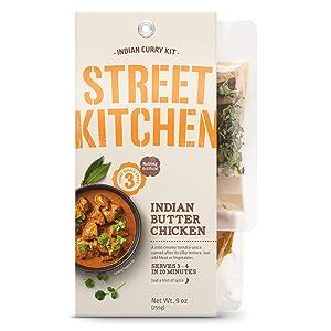 Street Kitchen 9 oz, North Indian Butter Chicken Scratch Kit, Authentic, Restaurant Quality Flavor, Three Simple Steps, Includes Butter Chicken Sauce, Garlic & Ginger Paste, Butter Chicken Spices