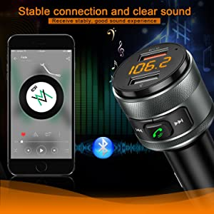 Bluetooth FM Transmitter for Car, QC3.0 Wireless Bluetooth FM Radio Adapter Music Player Car Kit with Hands Free Calling and 2 USB Ports Charger Support USB Flash Drive (Tamaño: 2018 updated version Bluetooth FM transmitter)