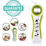 Number-One 5 in 1 Multi-function Bottle Opener Jar Opener Seal Lid Remover Can Opener Lid Twist Off Tool Kitchen Gadget Best Assist for Arthritis Sufferers (red)