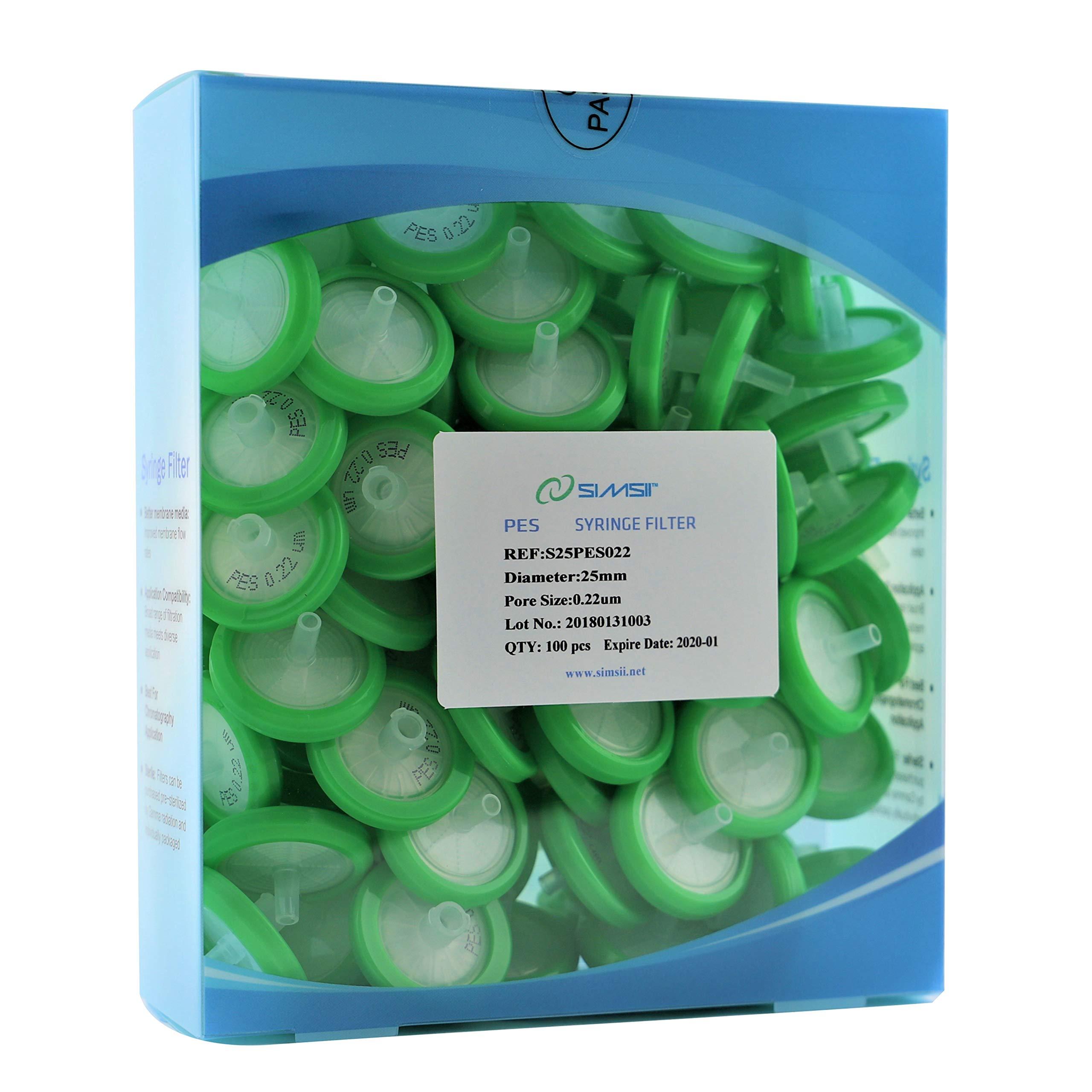 Simsii Syringe Filter, PES, Non-sterile, Diameter 25 mm, Pore Size 0.22 μm, 100/pack