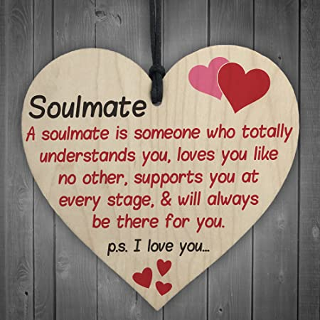 Red Ocean Soulmate I Love You Hanging Wooden Heart Husband Wife Sign