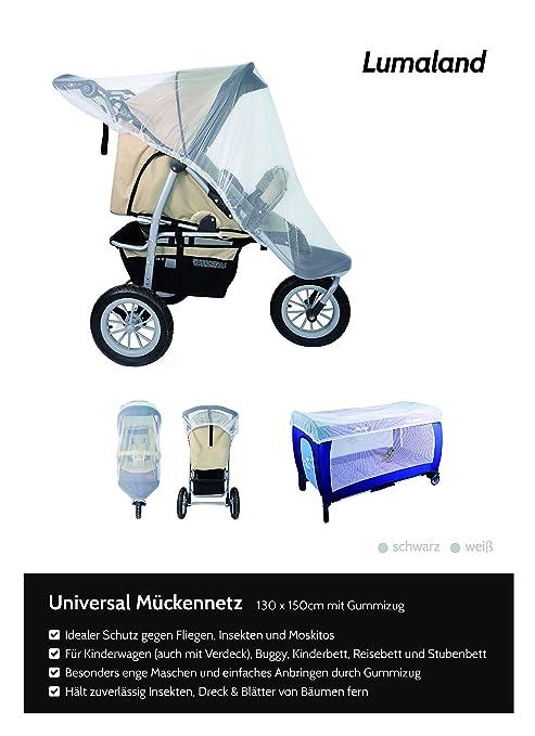 Lumaland mosquitero universal de cochecito para carrito de niños con elástico blanco