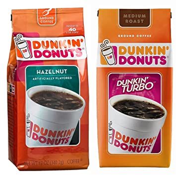 Dunkin Donuts Ground Coffee Variety pack: Turbo Ground & Hazelnut 1 of each flavor