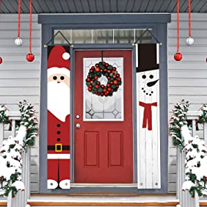 AVOIN Santa Claus Snowman Porch Sign, Christmas Winter Holiday Hanging Banner Flag for Yard Indoor Outdoor Party 12 x 72 Inch