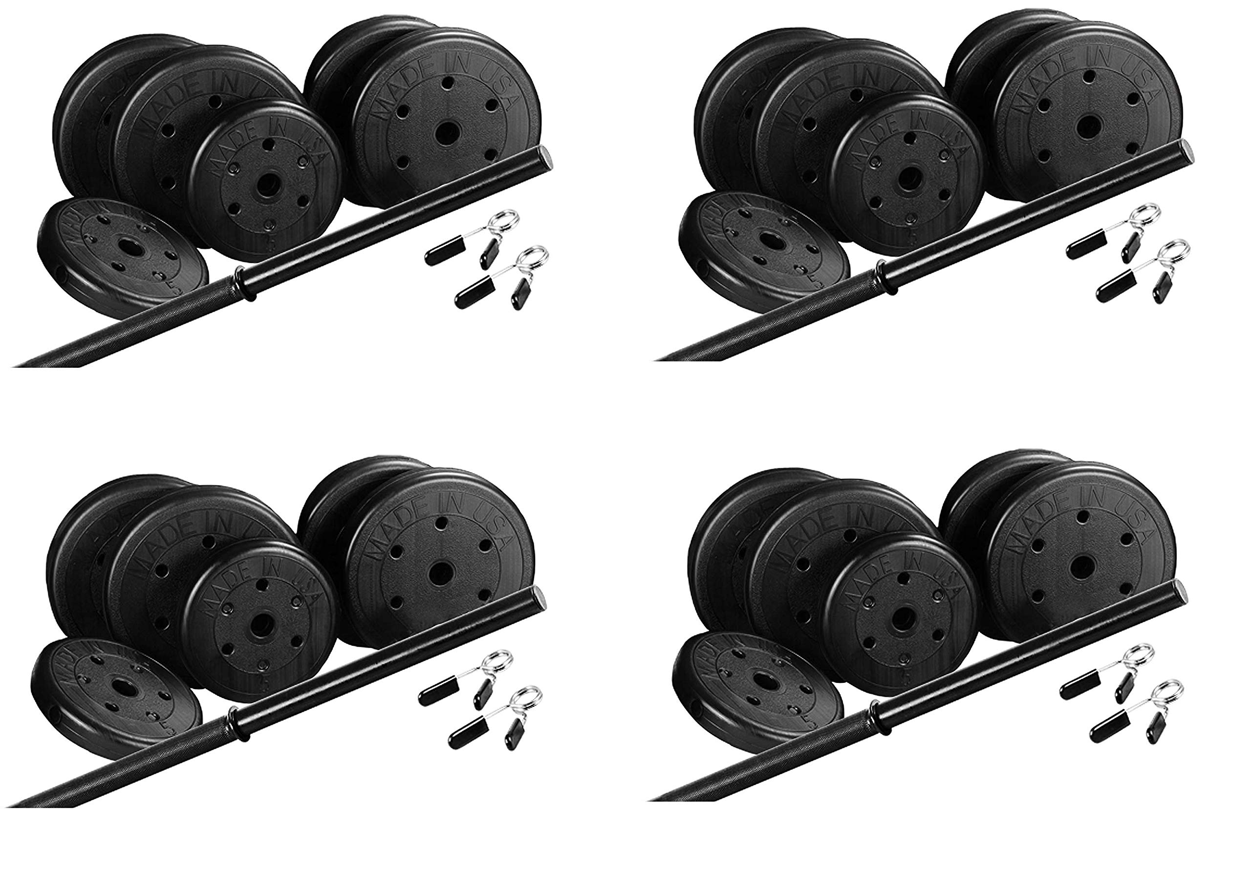US Weight Duracast 55 lb. Barbell Weight Set with Two 5 lb. Weights, Four 10 lb. Weights, One 4 lb. Two-Piece Threaded Barbell Bar, Two Locking Spring Clips (Fоur Расk)