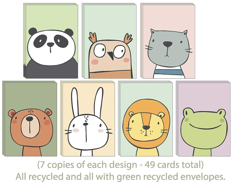 49 /Ökofreundliche Tier Gru/ßkarten ohne Text aus recyceltem Papier mit gr/ünen recycelten Umschl/ägen f/ür alle Anl/ässe