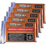 TITAN Two-Sided Mylar Emergency Survival Space Blankets, 5-Pack | Designed for NASA's Appolo Program and Heat Retention | Perfect for Marathons, Emergency Kits, and Go-Bags. Free eBooks included.