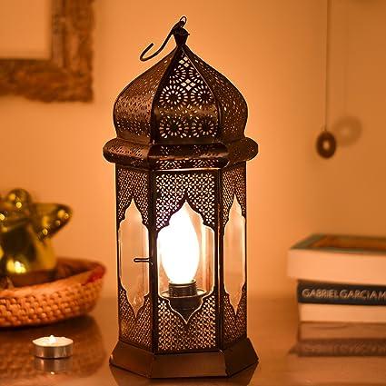 Homesake Antique Moorish Moroccan Lamp With Floral Pattern, Turkish Lantern