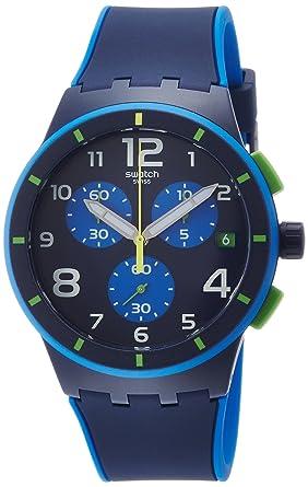 Swatch Beach Swing Bleu Sur Bleu Blue Dial Silicone Strap Mens Watch SUSN409