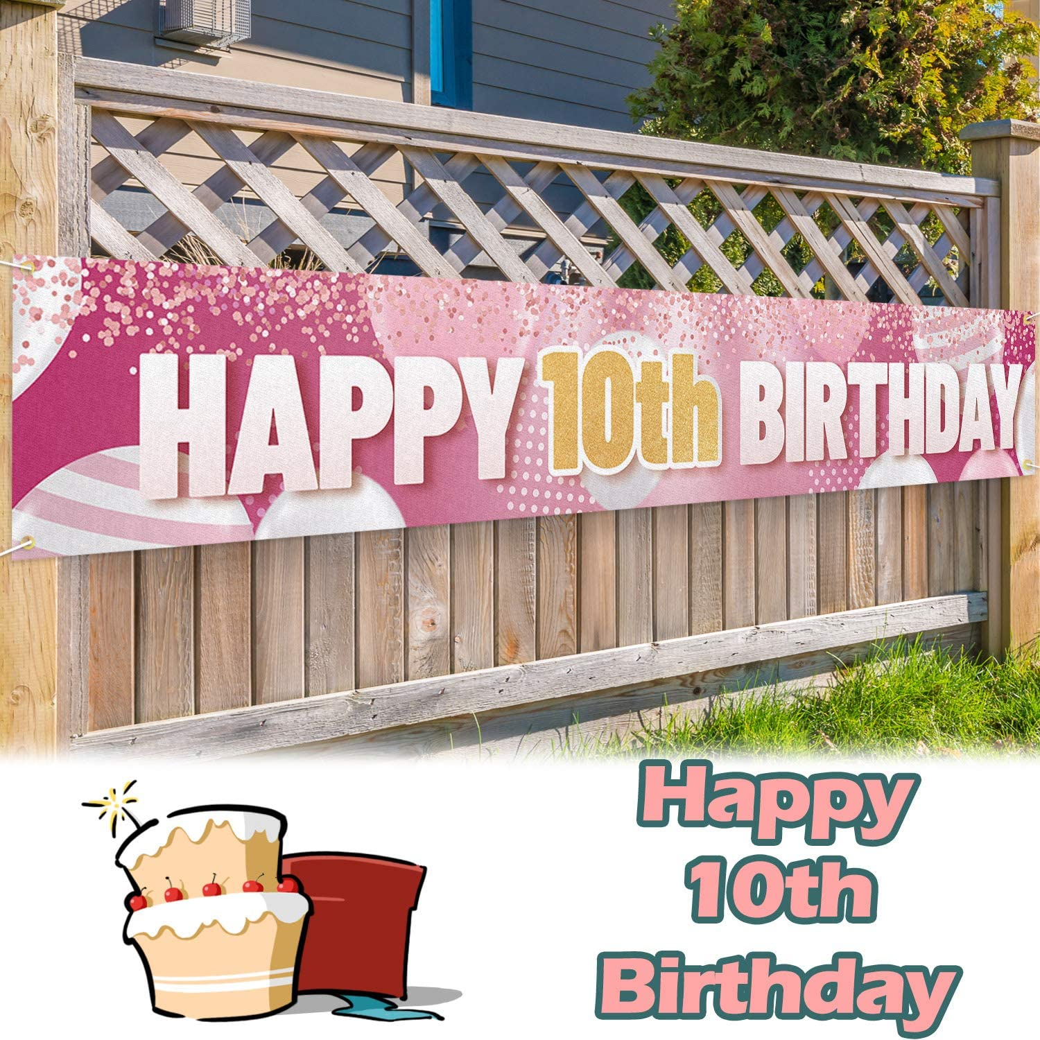 LINGPAR 9.8 x 1.6 ft Large Sign Happy 10th Birthday Banner Pink - Cheers to 10 Years Old Decor