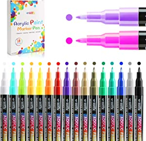 Acrylic Paint Markers Set With 18 Colors Paint Pens Quick-dry,Waterproof, Non-Toxic,Water-Based, Medium-point Paint Pens, Drawing On Rock, Wood, Glass, Ceramic, Planner And DIY Christmas Crafts Art Supplies.