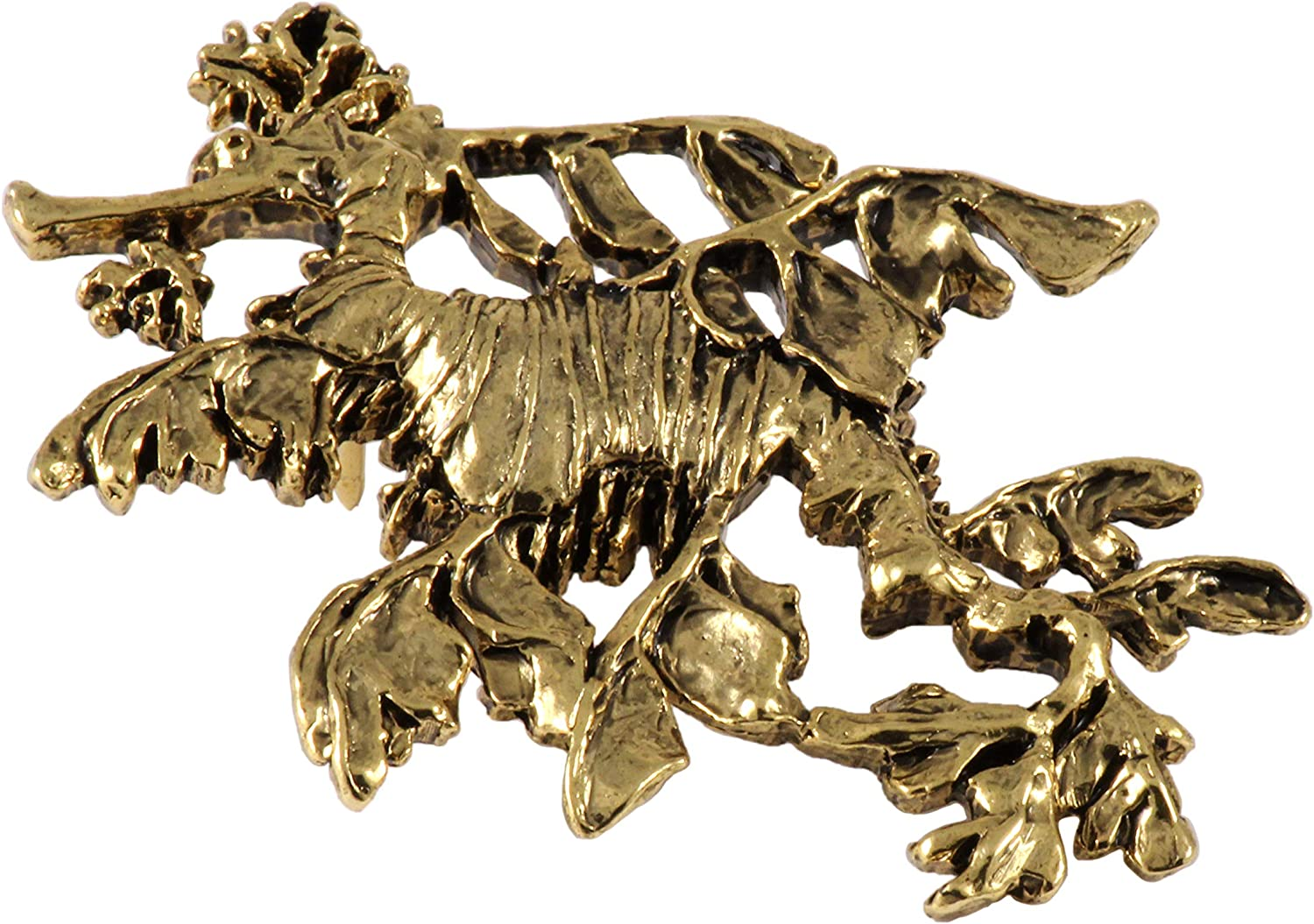 A162A Jewelry Sea Dragon Seahorse Leafy Pewter Lapel Pin Brooch